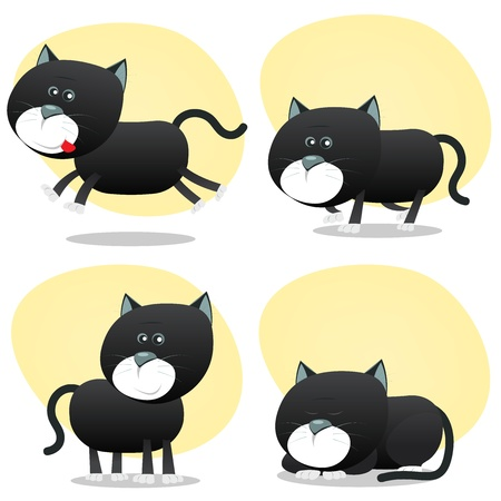 Illustration of a cartoon cute tiny domestic black cat in various situations, running, hunting, sleeping and standing happy Vector