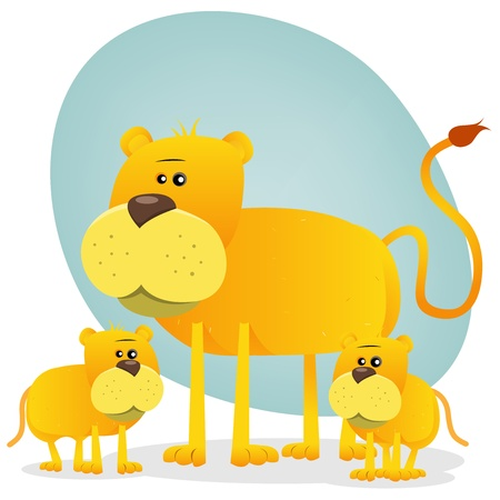 Illustration of a cute cartoon african lion family with mother and its babies Vector
