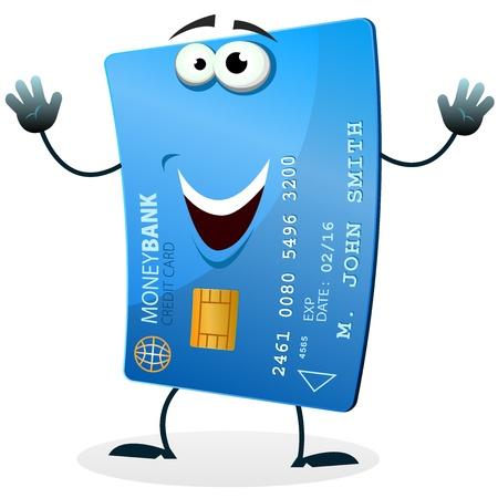 tarjeta de credito: Ilustraci�n de una caricatura feliz divertido personaje de tarjeta de cr�dito bienvenida Vectores