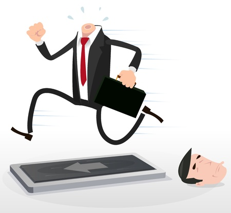 overwork: Illustration of a cartoon businessman character running blind on a treadmill with his head lying at the floor Illustration