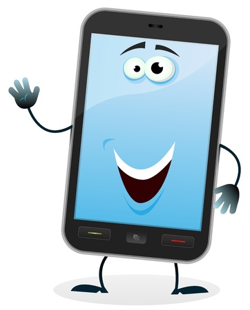 blank computer screen: Illustration of a cartoon happy mobile phone character doing welcoming sign