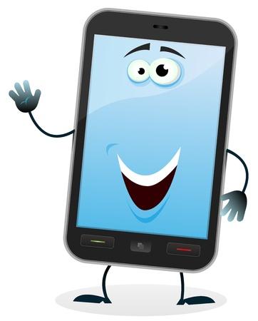 telefono caricatura: Ilustración de un personaje de dibujos animados feliz móvil haciendo señal de bienvenida