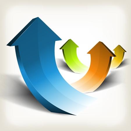 curvas: Ilustraci�n de un conjunto de flechas abstractas �poca en alza, que simboliza el crecimiento, la riqueza y el �xito