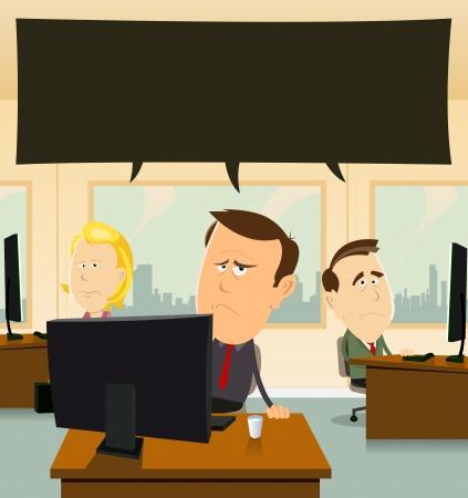mujeres tristes: Ilustraci�n de hombres de negocios de dibujos animados y el equipo de las mujeres en el trabajo, en su oficina sinti�ndose triste y deprimido