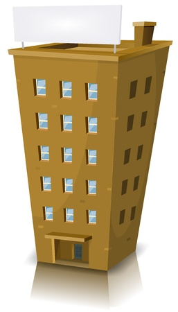 Illustration of a cartoon home building tower with banner Vector