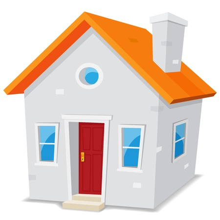 house roof: Illustration of a cartoon simple small house on white background