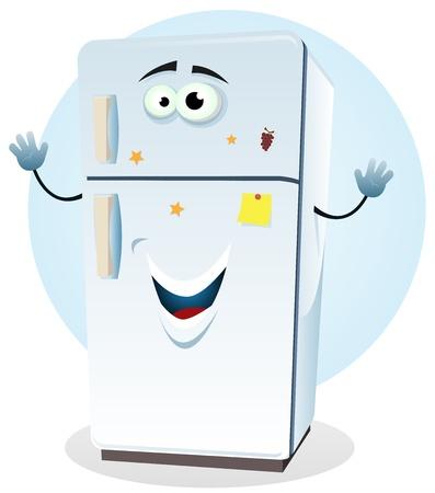 Illustratie van een cartoon gelukkige koelkast karakter verwelkomen
