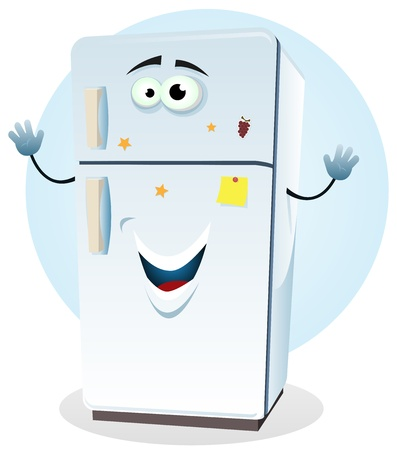 Illustration of a cartoon happy fridge character welcoming Vettoriali