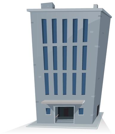사무실 건물: 만화 오피스 빌딩 타워의 그림 일러스트