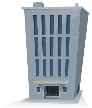 flat roof: Illustration of a cartoon office building tower  Illustration