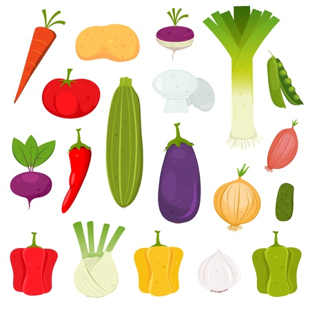 Illustration of a set of cartoon spring vegetables, various condiments and ingredients for food recipes