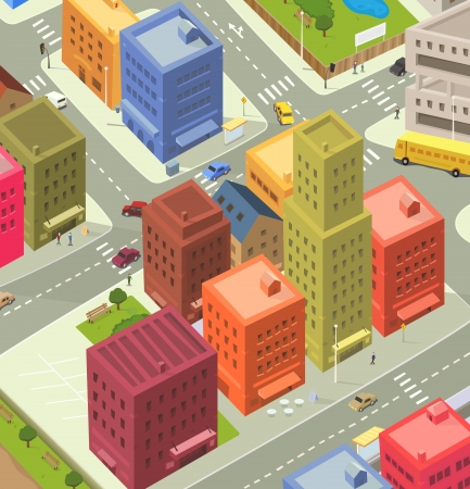 Illustration of a cartoon city life scene, with aerial view of downtown traffic, with cars and bus, and people walking on the pavement Vector