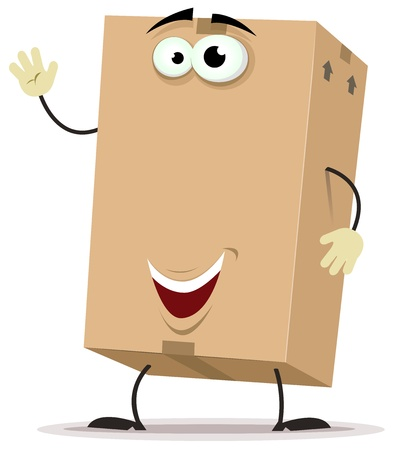 cardboard boxes: Illustration of a funny cartoon cardboard cube character, with welcoming attitude and copy space for advertisement banner message