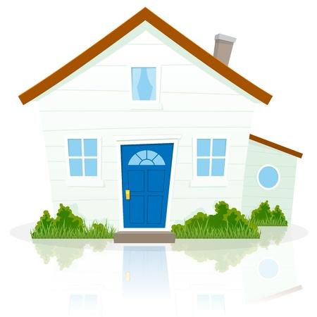 Ilustración de una casa sencilla de dibujos animados sobre fondo blanco con la reflexión sobre el terreno