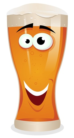 Illustration of a funny happy cartoon glass of beer character smiling Vector