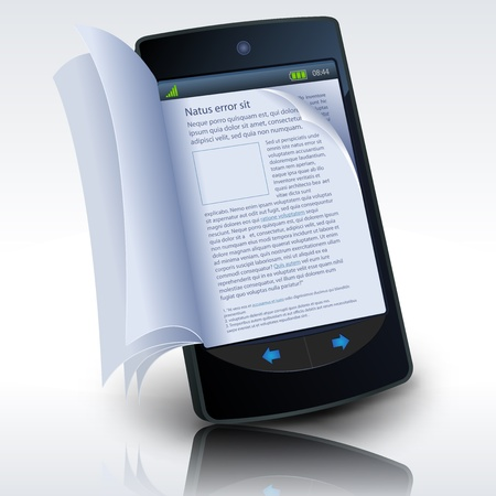 Illustration of a smartphone e-book with realistic pages flipping effect. Imaginary model not made from a real existing smartphone Illustration
