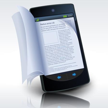 tornitura: Illustrazione di uno smartphone e-book con le pagine realistiche flipping effetto. Imaginary modello costituiti da uno smartphone realmente esistente