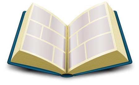 writing book: Illustrazione di un cartone animato aperto simbolo blu fumetti Vettoriali