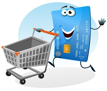 paid: Illustration of a cartoon happy funny credit card character holding and rolling shopping cart at the mall market