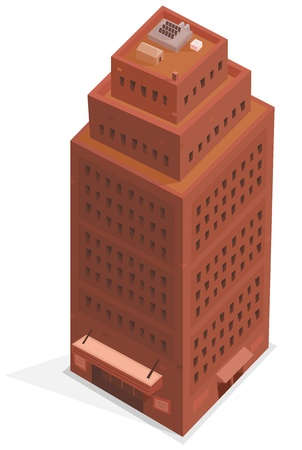 Illustration of a cartoon isometric like high office building tower plenty of windows and floors Vector