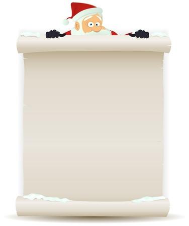 Illustratie van een cartoon Kerstman karakter wijzend wit perkament teken voor de kerstvakantie en kinderen geschenk lijst
