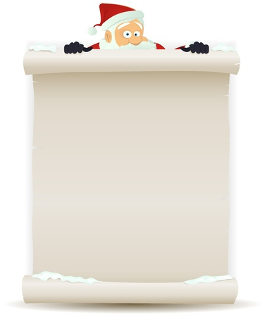 christmas list: Illustration of a cartoon Santa claus character pointing white parchment sign for christmas holidays and children gift list