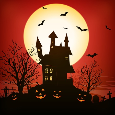 creepy: Illustration of a spooky haunted house inside red halloween holidays horror background Illustration