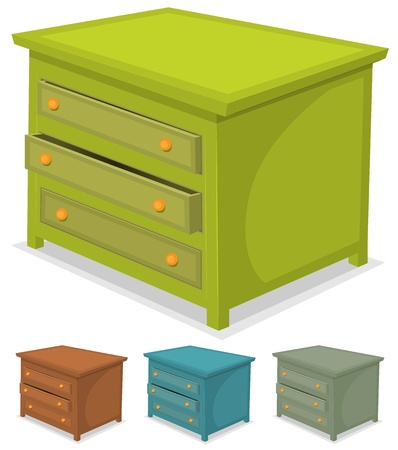 drawers: Illustration of a set of cartoon wooden cabinet furniture in various colors