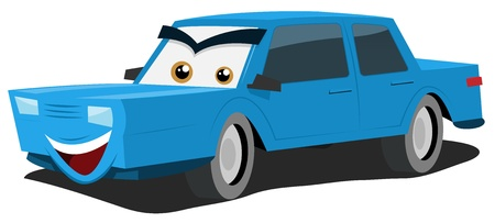 Illustration of a funny cartoon blue car character with eyes and mouth