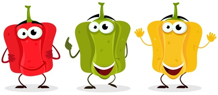 belle: Illustration of a set of cartoon funnny happy belle pepper character, red, green and yellow Illustration