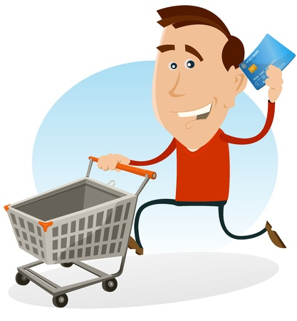 tarjeta de credito: Ilustraci�n de un hombre de dibujos animados feliz corriendo y sosteniendo su tarjeta de cr�dito mientras empuja un carrito de compras en el mercado de laminaci�n en centro comercial
