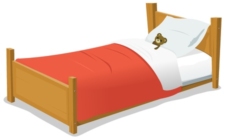 Illustration of a cartoon wooden children bed with pillow, red blanket and teddy bear inside Illustration