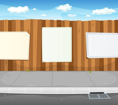yard sign: Illustration of a cartoon urban scene with wood fence and white billboard with copy space for your advertisement