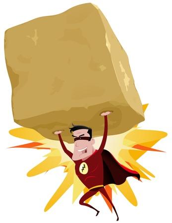 둥근 돌: 볼더 내부의 만화 빨강 자신의 초강대국으로 큰 무거운 바위를 던지고 슈퍼 히어로, 복사 공간의 그림