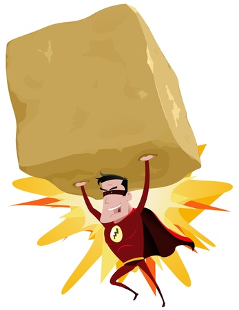 Illustration of a comic red superhero throwing a big heavy rock with his superpower, and copy space inside the boulder Illustration