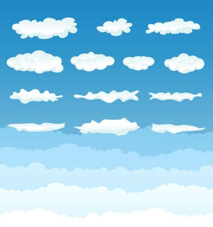 cumulonimbus: Illustration of a set of various cartoon clouds and cloudscape on a blue sky gradient background