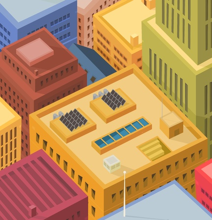Illustration of cartoon high city buildings tops and roofs with solar panels and various equipments
