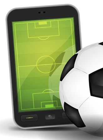 bet: Illustration of a mobile touchscreen phone with a competition stadium inside and near a soccer ball, for online sport background