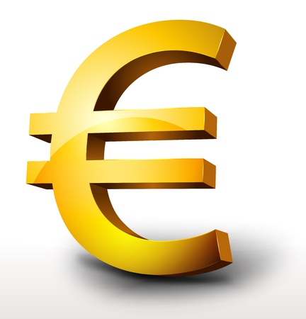 Illustration of a glossy 3d golden euro currency