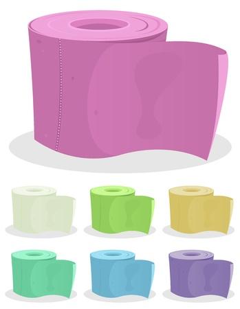 zylinder: Illustration aus einer Reihe von farbigen Cartoon-WC-Papier f�r Hygiene Illustration