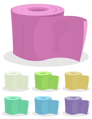 cartoon toilet: Illustration of a set of colored cartoon toilet paper for hygiene Illustration