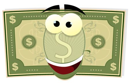 Illustration of a cartoon happy american US dollar bill character Vector