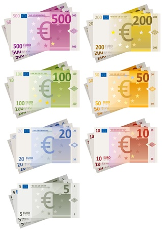 Ilustración de un conjunto de moneda euro brillante facturas de papel con cada cantidades Foto de archivo - 15602883