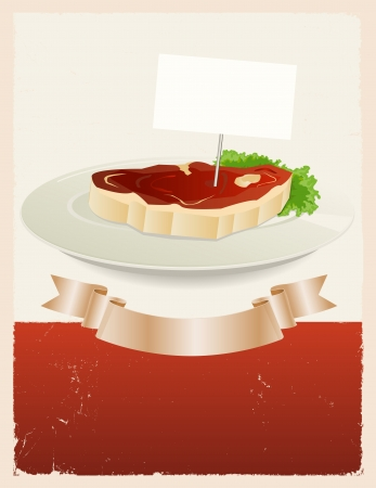 Illustration of a vintage grunge restaurant background with piece of beefsteak in a dish plate and scroll banner for food advertisement Stock Vector - 15602884