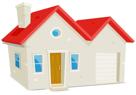 exteriors: Illustration of a cartoon domestic house exterior with garage on white background Illustration