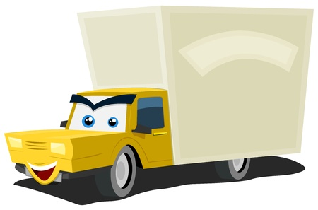 moving van: Illustration of a cartoon yellow delivery truck character happy and smiling with copy space for advertisement message