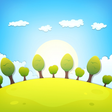 Illustration of a cartoon country landscape with clouds in the sky for spring, summer or even autumn season Vettoriali