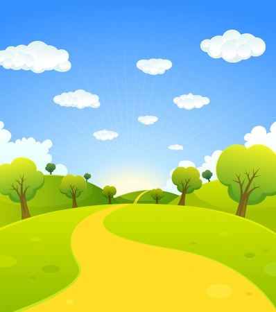 leading: Illustration of a cartoon summer or spring season country landscape, with road trail leading towards horizon