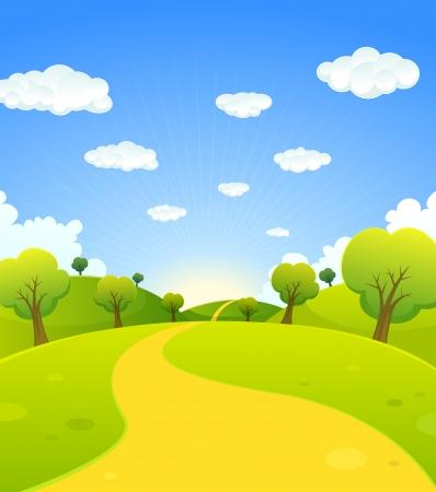 Ilustracja lecie kreskówki lub sezonu wiosennego krajobrazu kraju, przy szlaku drogowym prowadzącym do horyzontu