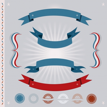 Illustration of a set of various red and blue retro vintage banners, ribbons, seals, certificates, badges and ornaments for french or american national holidays, event or elections Stock Vector - 15734373